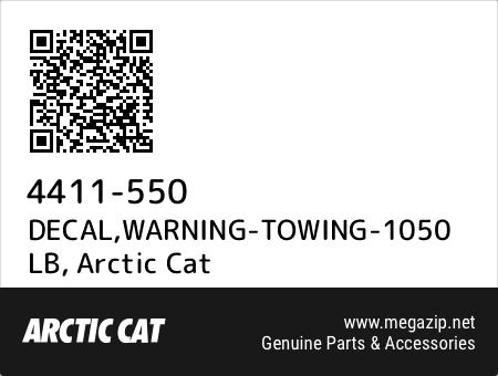 DECAL,WARNING-TOWING-1050 LB, Arctic Cat 4411-550 oem parts