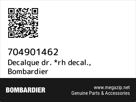 Decalque dr. *rh decal., Bombardier 704901462 oem parts