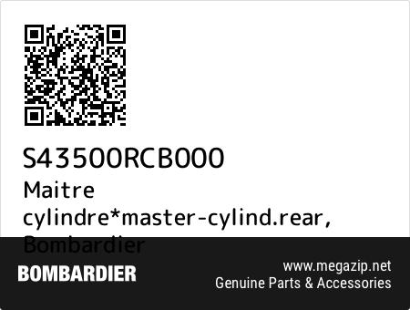 Maitre cylindre*master-cylind.rear, Bombardier S43500RCB000 oem parts