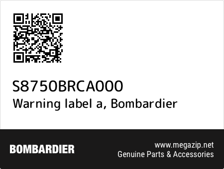 Warning label a, Bombardier S8750BRCA000 oem parts