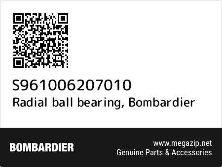 Radial ball bearing, Bombardier S961006207010 oem parts