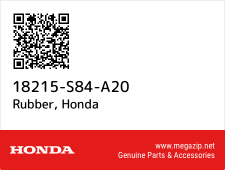 Rubber, Honda 18215-S84-A20 oem parts