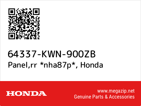 Panel,rr *nha87p*, Honda 64337-KWN-900ZB oem parts