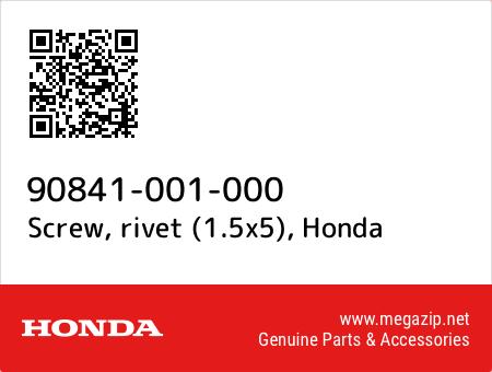 Screw, rivet (1.5x5), Honda 90841-001-000 oem parts