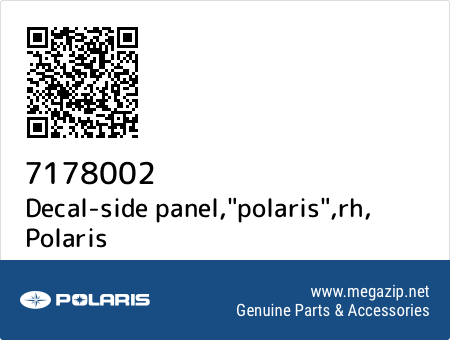 "Decal-side panel,""polaris"",rh, Polaris 7178002 oem parts"
