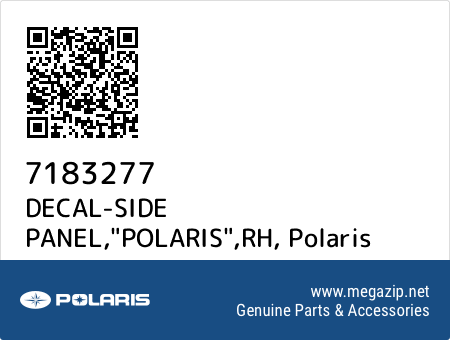 "DECAL-SIDE PANEL,""POLARIS"",RH, Polaris 7183277 oem parts"