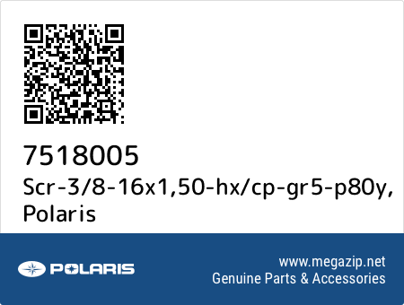Scr-3/8-16x1,50-hx/cp-gr5-p80y, Polaris 7518005 oem parts