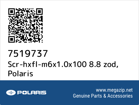 Scr-hxfl-m6x1.0x100 8.8 zod, Polaris 7519737 oem parts
