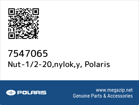 Nut-1/2-20,nylok,y, Polaris 7547065 oem parts
