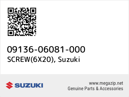 SCREW(6X20), Suzuki 09136-06081-000 oem parts
