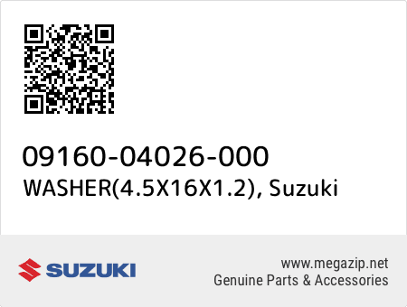 WASHER(4.5X16X1.2), Suzuki 09160-04026-000 oem parts