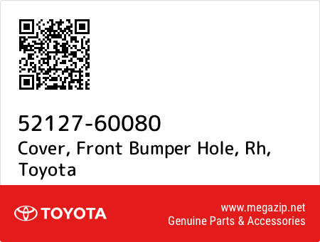 RH 52127-60080 FRONT BUMPER HOLE 5212760080 Genuine Toyota COVER