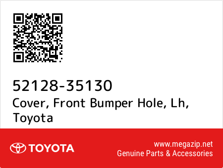 lh 5212835130 52128-35130 Toyota Cover New Genuine OEM Part front bumper hole