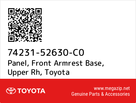 TOYOTA Genuine 74231-02E10-C0 Armrest Base Panel