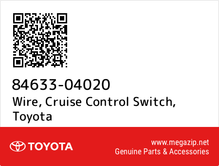 Toyota 84633-04020 Cruise Control Switch Wire