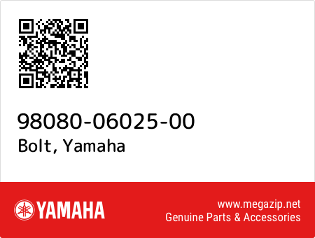 Bolt, Yamaha 98080-06025-00 oem parts