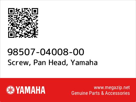 Screw, Pan Head, Yamaha 98507-04008-00 oem parts