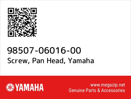 Screw, Pan Head, Yamaha 98507-06016-00 oem parts