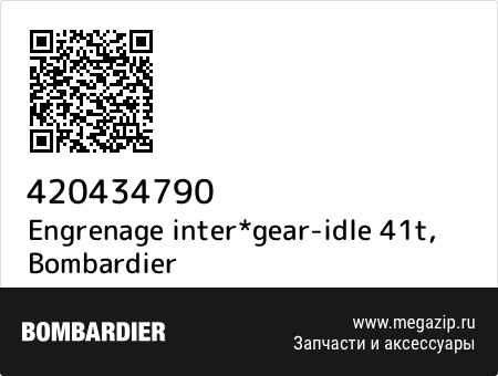 Engrenage inter*gear-idle 41t, Bombardier 420434790 запчасти oem